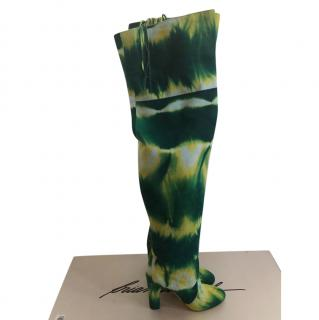 Brian Atwood fringed tie-dye over-the-knee boots