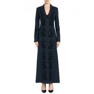La Perla embroidered long wool coat