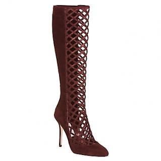Jimmy Choo lattice burgundy boots