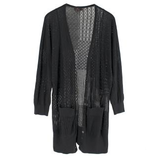 Mulberry Black Silk-blend Pointelle-Knit Long Cardigan