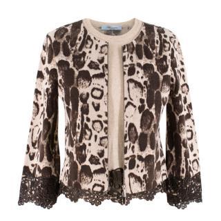 Blumarine woolen leopard print double layered zip cardiga