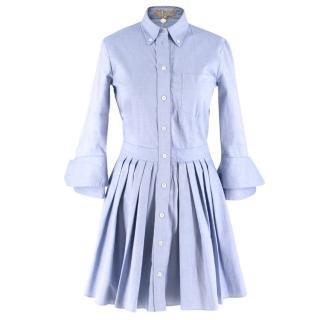 Michael Kors Blue Oxford Cotton Shirt Dress