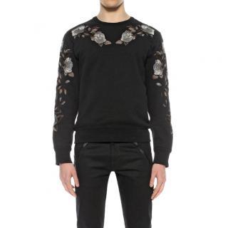 Alexander McQueen Rose-Embroidered Crew-Neck Sweatshirt