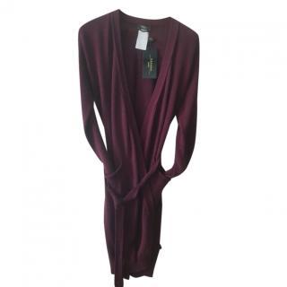 MaxMara Weekend tie-waist burgundy cardigan