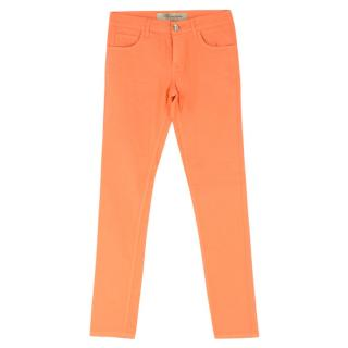 Blumarine Fluorescent-Orange High-Rise Skinny Jeans