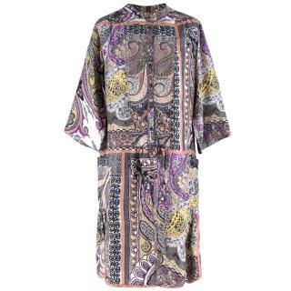 Etro Paisley Silk Pattern Collarless Shirt Dress