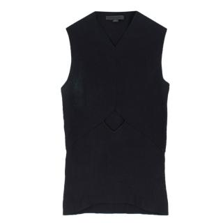 Alexander Wang Black Fitted Stretch Sleeveless Cut-Out Top