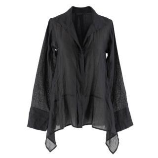 Donna Karan Black Sheer Shirt
