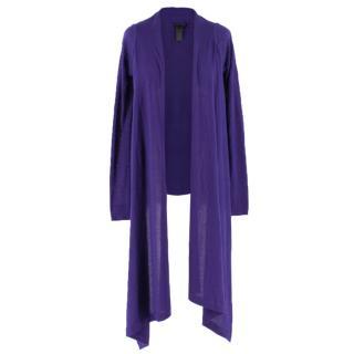 Donna Karan Cashmere tie-front purple cardigan