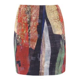 Donna Karan Multi-Coloured Abstract Patterned Mini Skirt