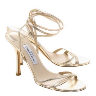 Jimmy Choo cross-strap gold sandals