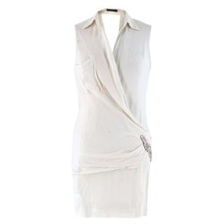 Donna Karan off-white embellished wrap top