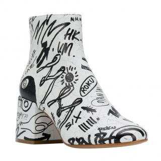 Maison Margiela MM6 Graffiti leather ankle boots