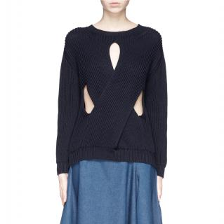 Stella McCartney Navy Twisted Cut-Out Detail Ribbed Sweater