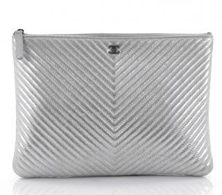 Chanel Large Metallic Chevron O-case Zip Pouch