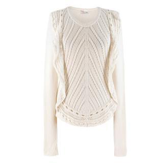 Red Valentino Cream Wool Blend Ruffle Detail Jumper