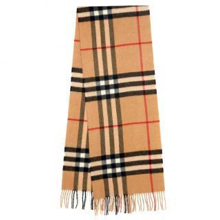 Burberry Classic Check Fringed Cashmere Scarf