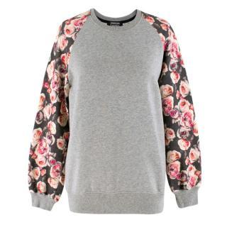 Markus Lupfer Floral Sleeved Grey Sweatshirt