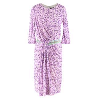 Saloni purple draped midi dress