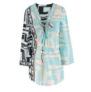 Emilio Pucci geometric-print blue beach cotton kaftan