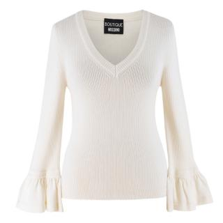 Boutique Moschino V-neck cream ribbed-wool sweater