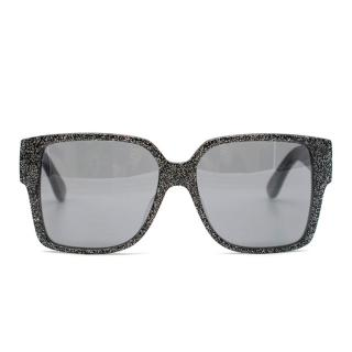 Saint Laurent Black Glitter Square-Frame Sunglasses