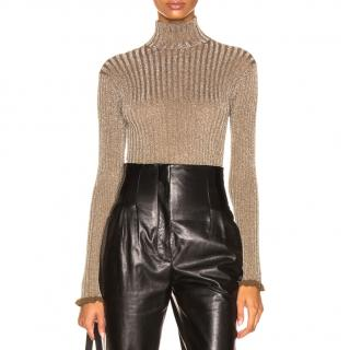 Chloe high-neck metallic silk-blend ribbed top
