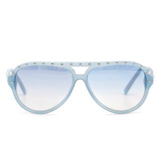 Michael Kors blue studded framed aviator sunglasses