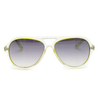 Michael Kors Neon-Green Gradient Aviator Sunglasses