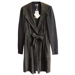 Brunello Cucinelli knit-sleeved suede trench coat
