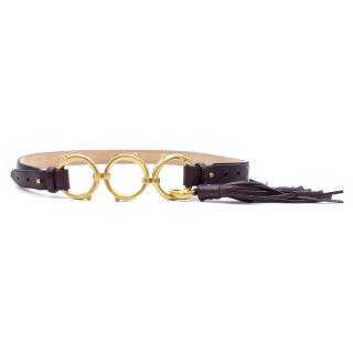 Roberto Cavalli plum loop tassel belt
