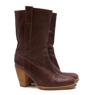 Madison Brown Leather Mid Calf Boots
