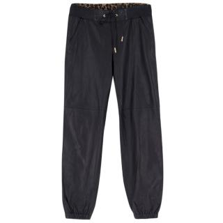 Juicy Couture Black Leather Track Pants