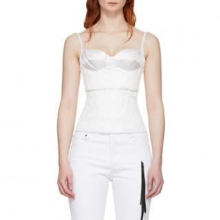 Olivier Theyskens white silk-satin tanepa bustier top
