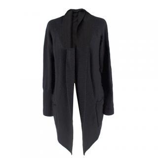 Modissa Black Merino-Wool Cardigan