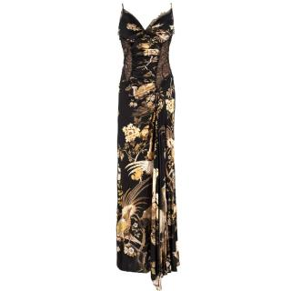 Roberto Cavalli Floral & Lace Side Split Gown