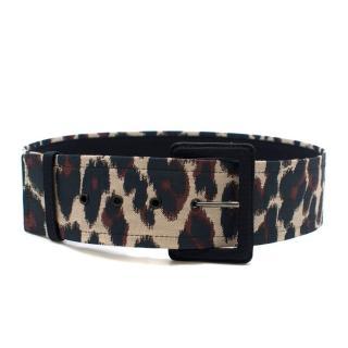 Lanvin Leopard Print Jacquard Wide Belt