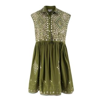 Juliet Dunn Green Embellished Beach Dress