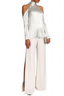 Galvan Off-White Scarf-Effect Satin Top