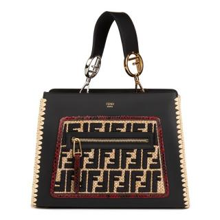 Fendi Embroidered-Raffia, Red Python & Leather Bag