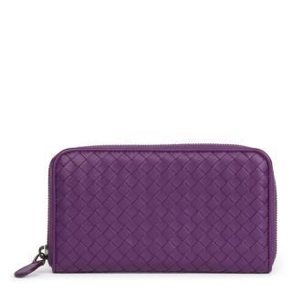 Bottega Veneta Intrecciat Purple Leather Zip-Around Wallet