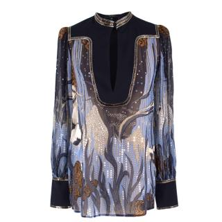 Gucci sheer embelished silk patterned shirt