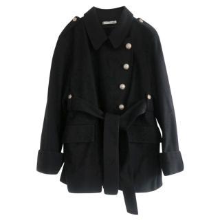 Balenciaga Heraldry Button-Strap Belted Pea Coat