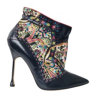 Manolo Blahnik Black Leather Ankle Boots with Vintage Silk Print