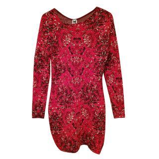 M Missoni jaquard red knit mini dress