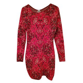 M Missoni jaquard red knit mini dress