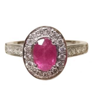 Bespoke Ruby & Diamond Halo Ring 18ct Gold
