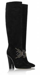 Jimmy Choo Black Suede Knee High Studded Boots
