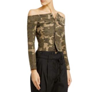 Faith Connexion camo print off-shoulder jacket