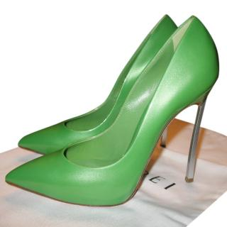 Casadei Blade green-leather pumps